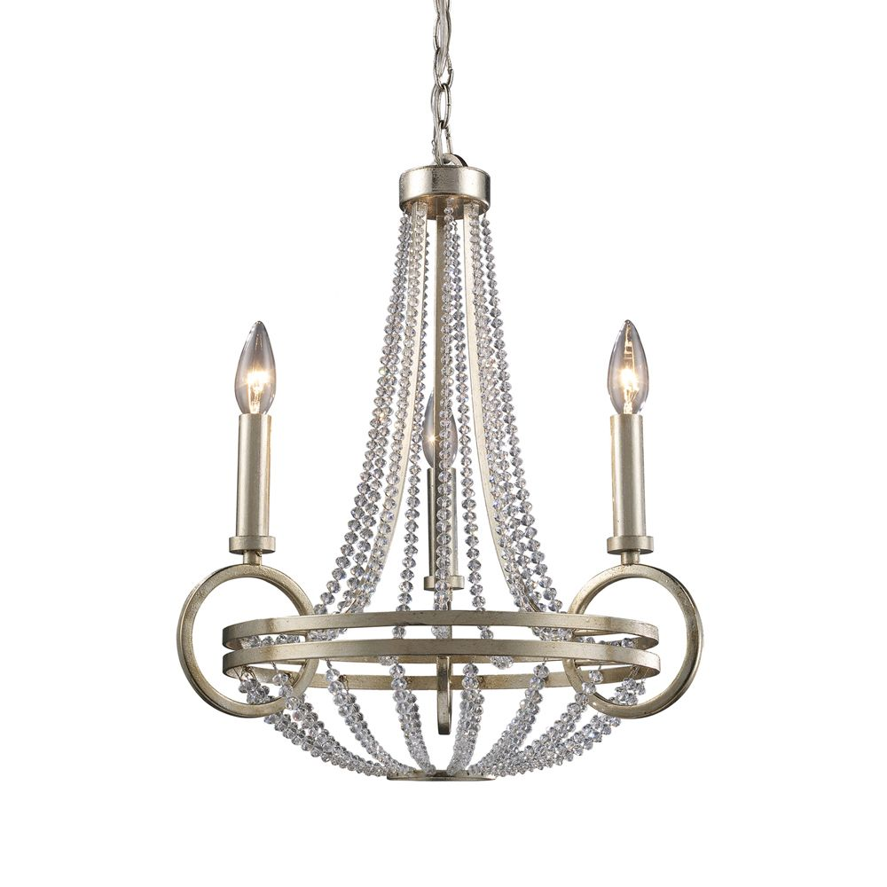 Titan Lighting 3-Light Ceiling Mount Renaissance Silver Chandelier