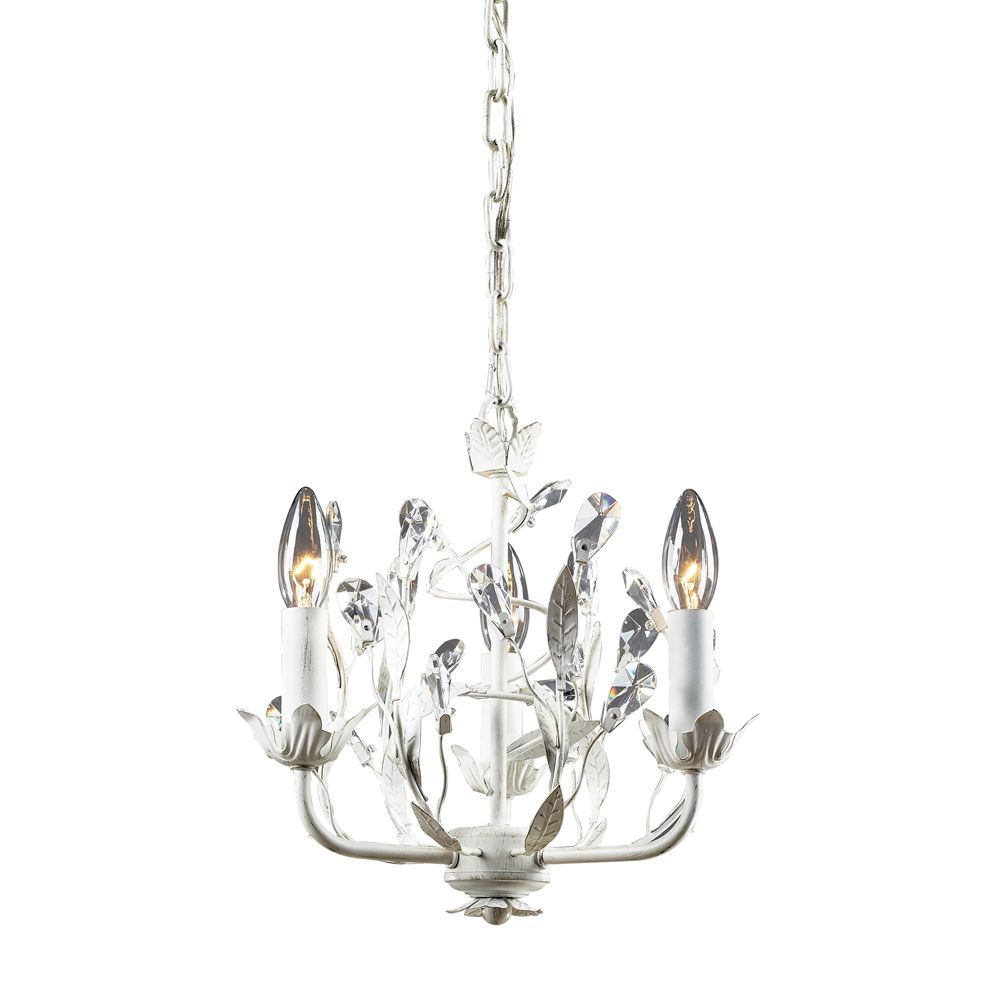 3-Light Ceiling Mount Antique White Chandelier TN-6075 in Canada
