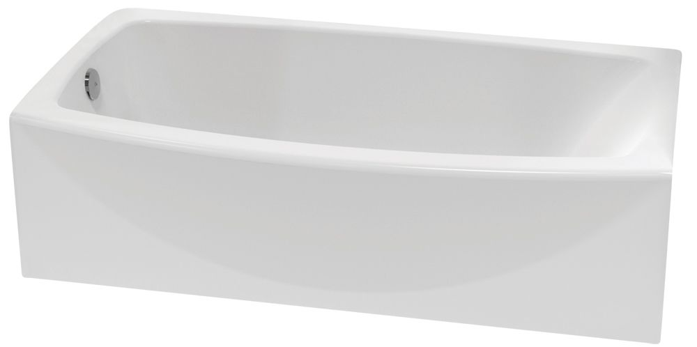 Cadet Acrylic Curved Bathtub with Right-Hand Drain