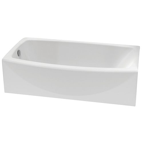 American Standard Cadet Alcove Rectangular Acrylic Curved Bathtub with Left-Hand Drain in White