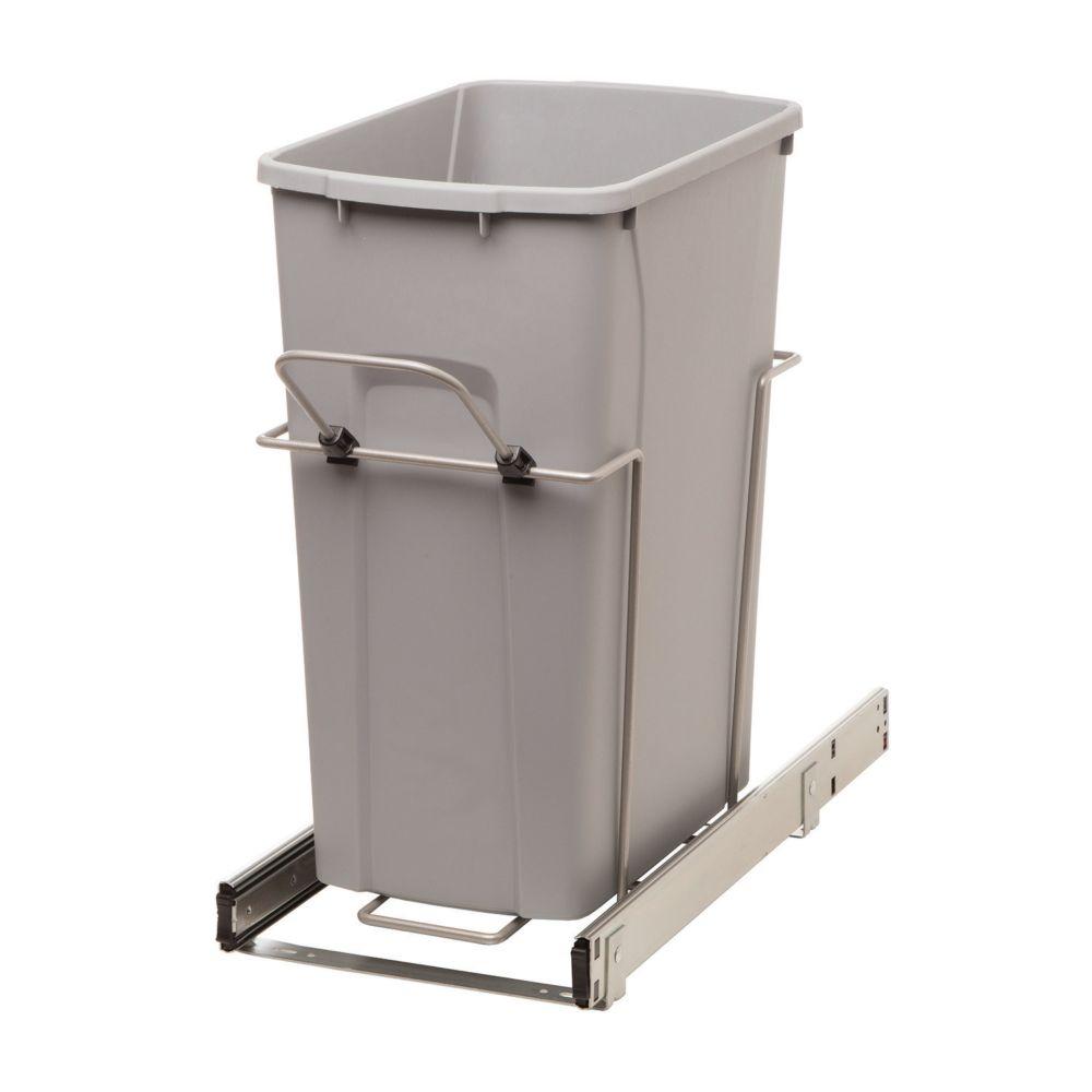 Poubelle coulissante avec bac 33 litres à fermeture amortie