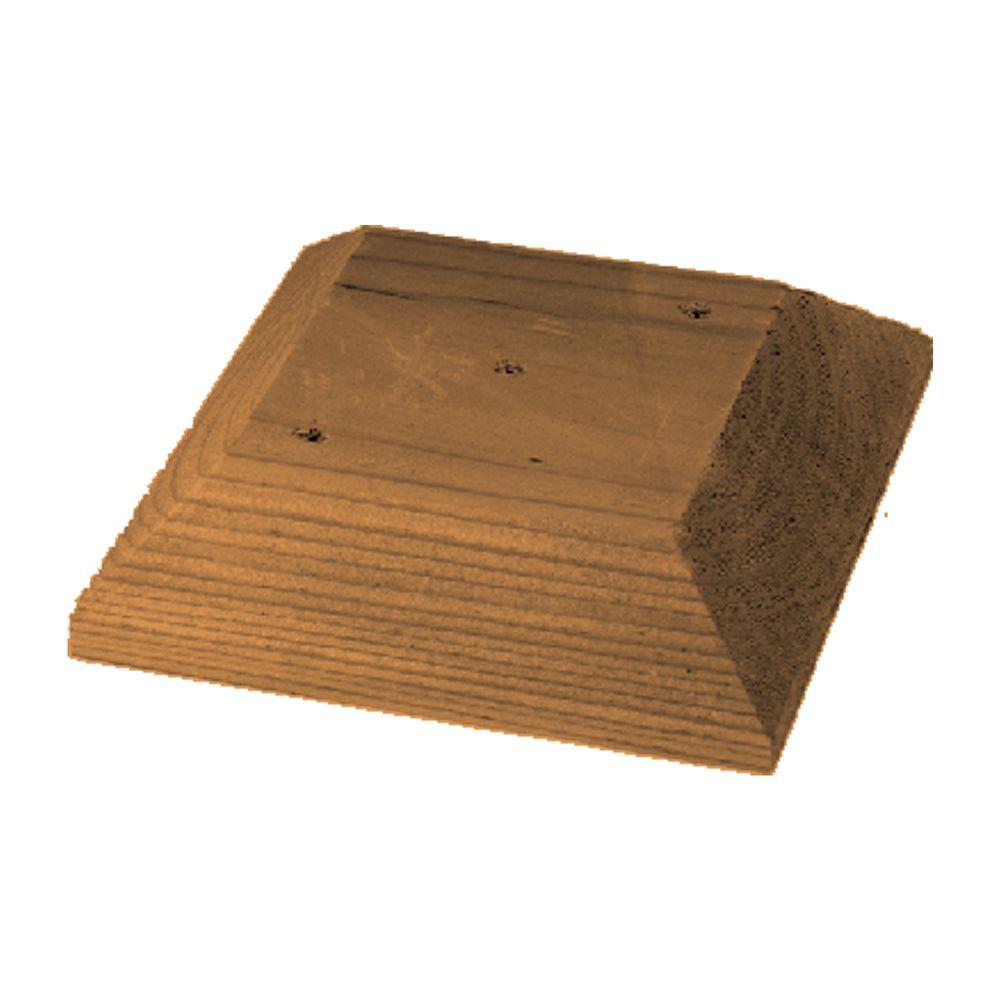 Capuchon de poteau plat, 4x4, en bois traité