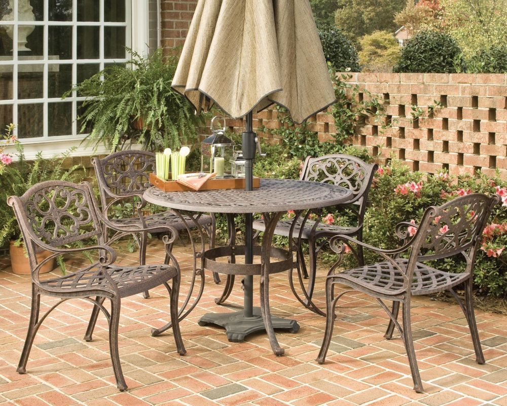 Home Styles Biscayne 5-Piece Patio Dining Set with 48-inch Bronze Table and Four Arm Chairs