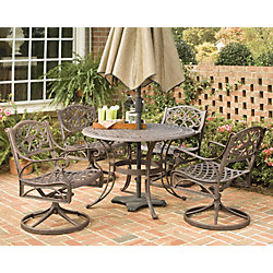 Home Styles Biscayne 5-Piece Patio Dining Set with 48-inch Bronze Table and Four Swivel Chairs