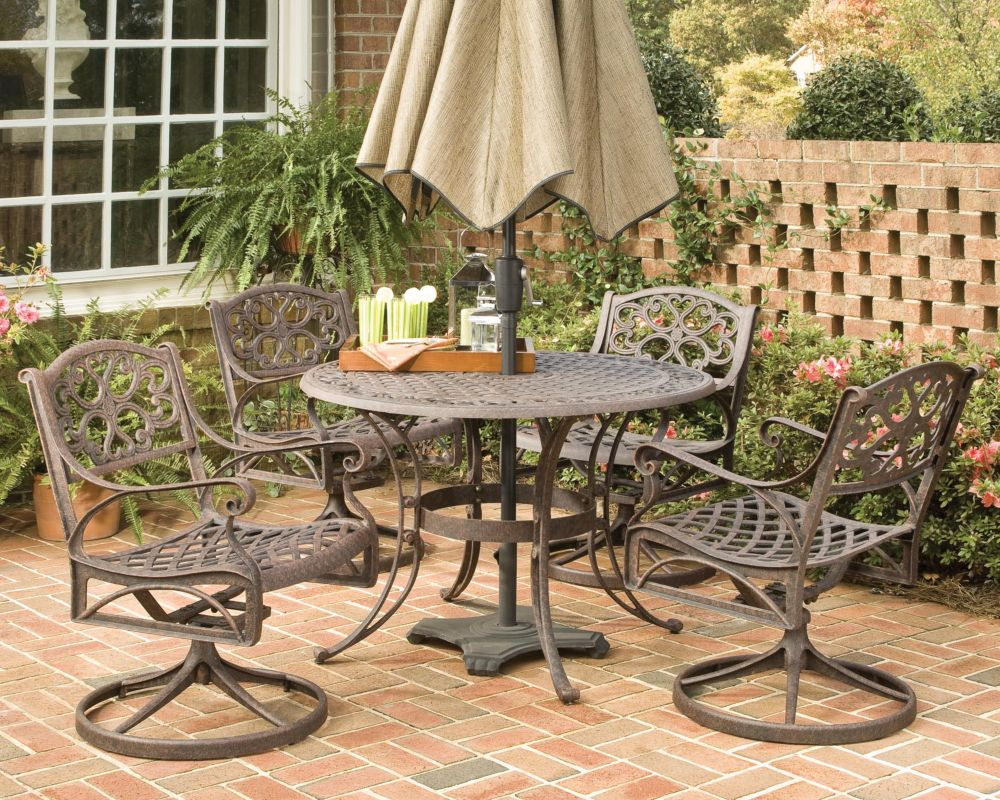 Biscayne 5-Piece Patio Dining Set with 48-inch Bronze Table and Four Swivel Chairs