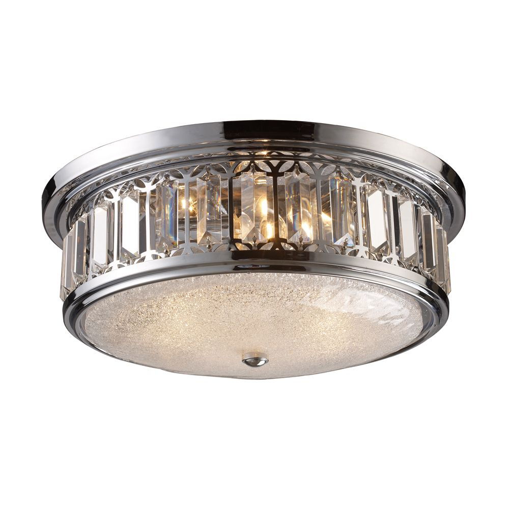 3-Light Ceiling Mount Polished Chrome Flush Mount