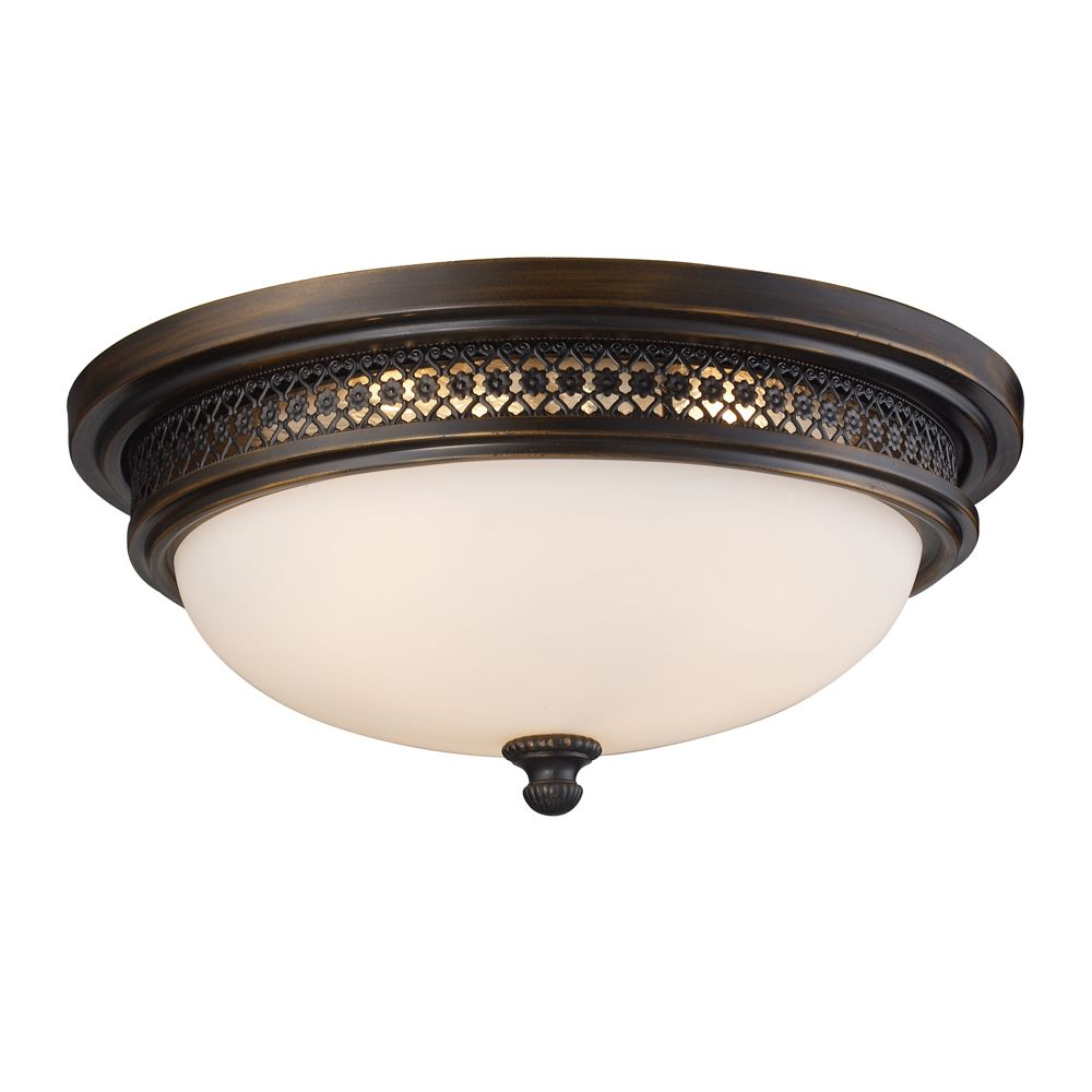 3-Light Ceiling Mount Dark Rust Flush Mount