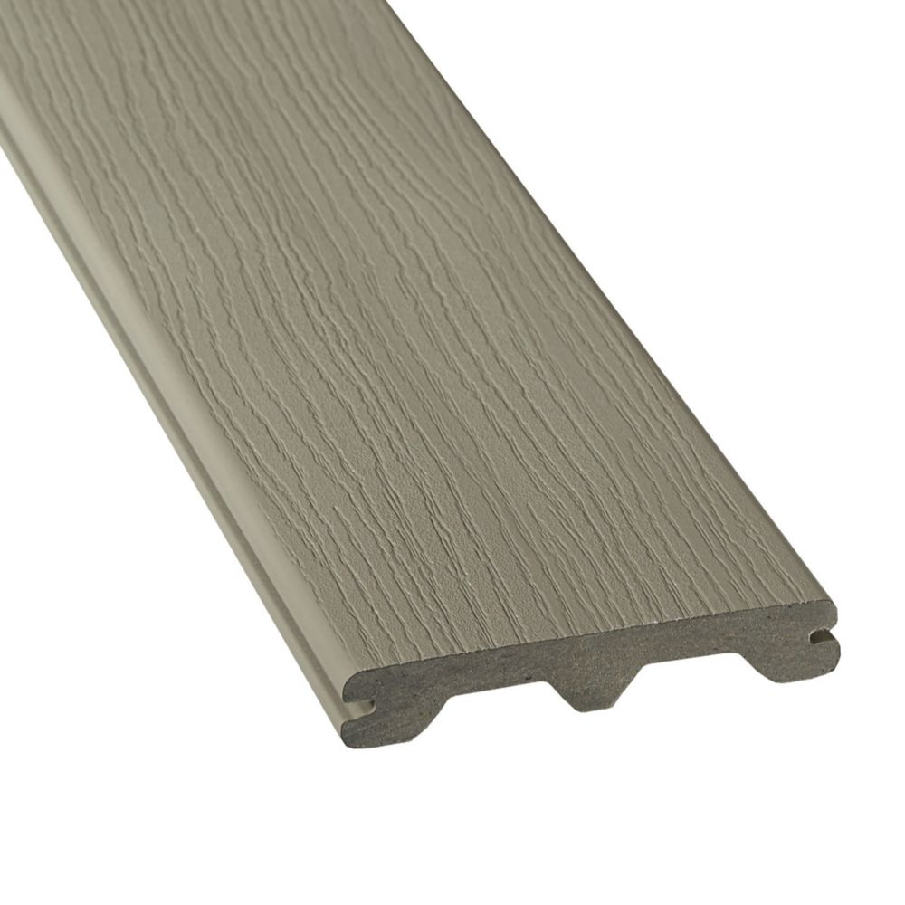 Veranda 12 ft hp composite capped grooved decking for Best composite decking material reviews