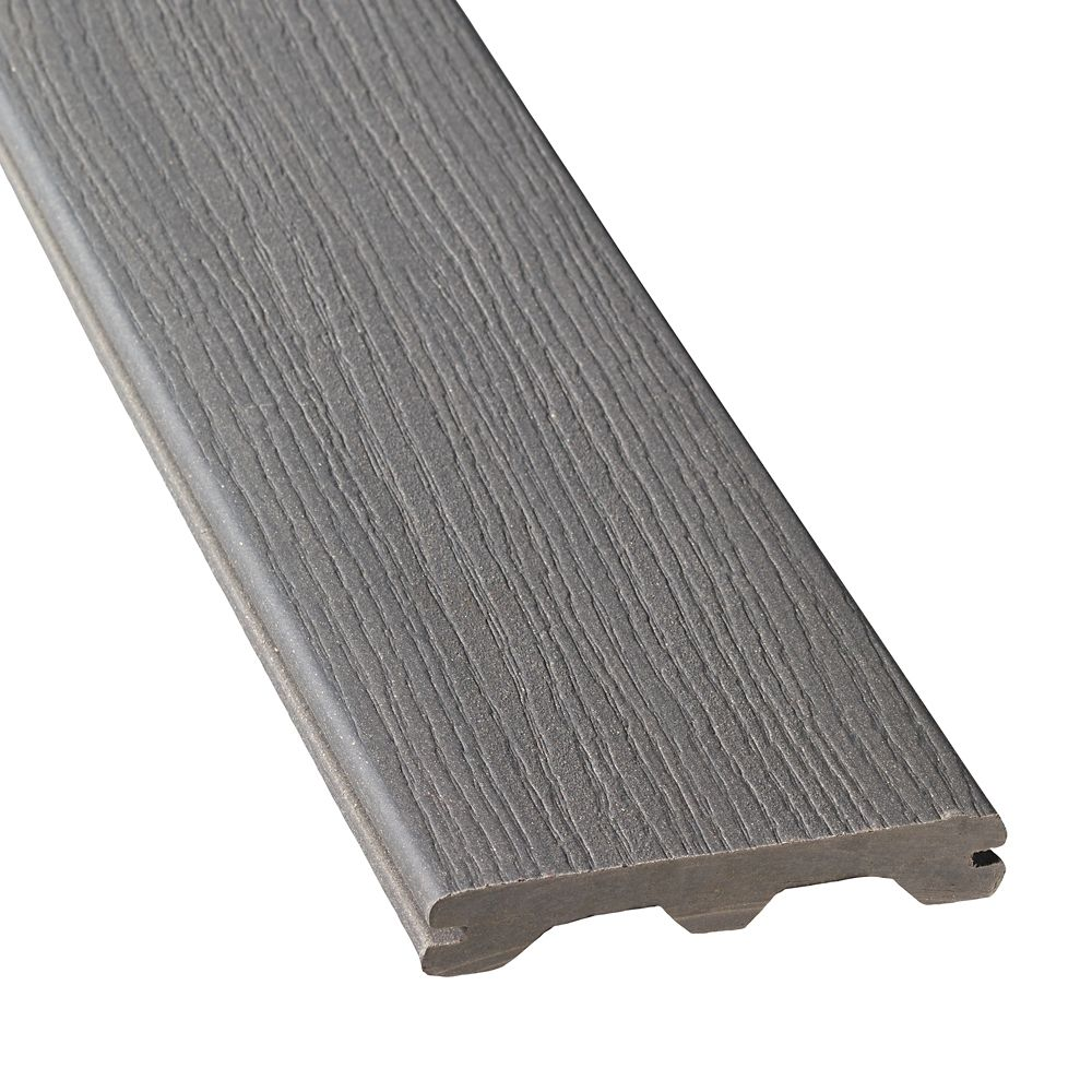 Veranda 12 ft composite grooved decking gray the for Composite deck material reviews