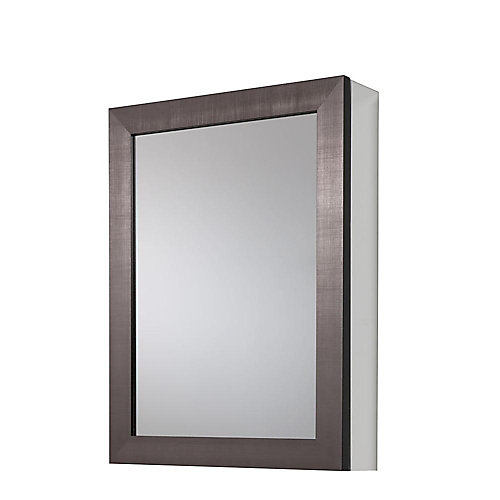 20-inch x 26-inch Framed Aluminum Recessed or Surface-Mount Medicine Cabinet in Coppered Pewter