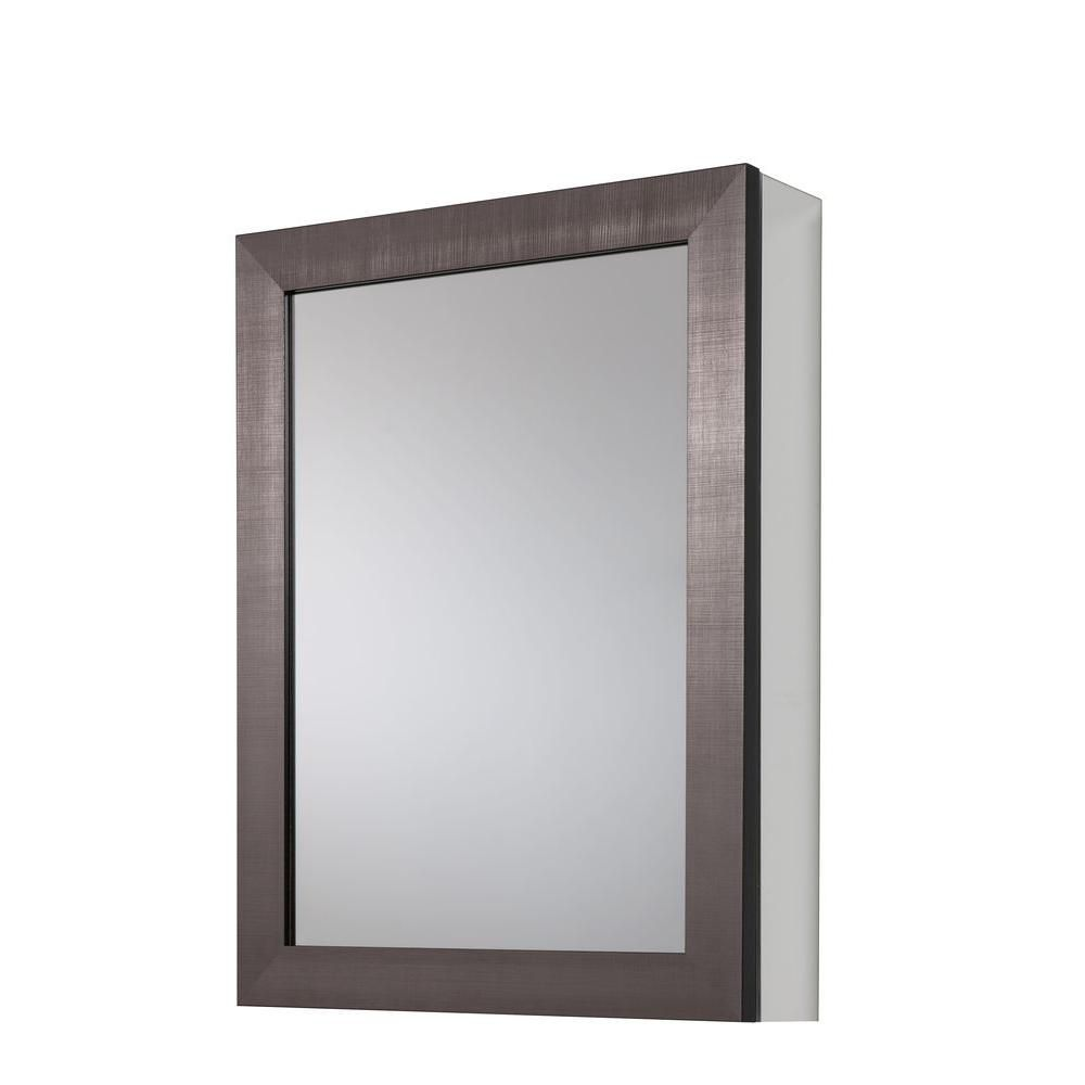 20 In. x 26 In. Recessed or Surface Mount Medicine with Deco Framed in Coppered Pewter