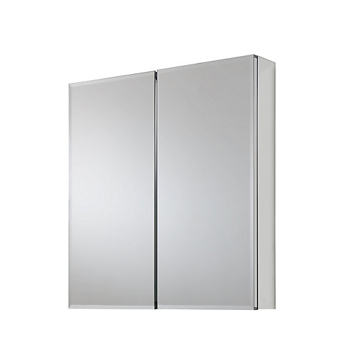 24-inch x 26-inch Recessed or Surface Mount Medicine Cabinet with Bi-View Beveled Mirror in Silver