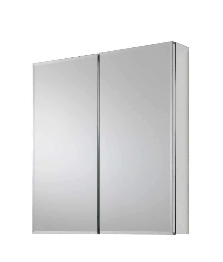 GLACIER BAY 24-inch x 26-inch Recessed or Surface Mount Medicine Cabinet with Bi-View Beveled Mirror in Silver