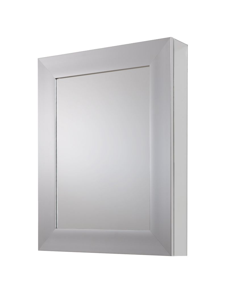 24 In. x 30 In. Recessed or Surface Mount Cabinet with Deco Framed in Brushed Nickel