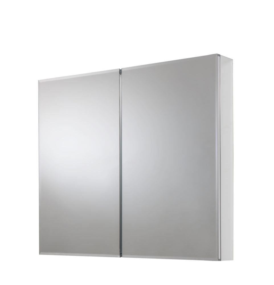 30 In. x 24 In. Recessed or Surface Mount Medicine Cabinet with Bi-View Beveled Mirror in Silver
