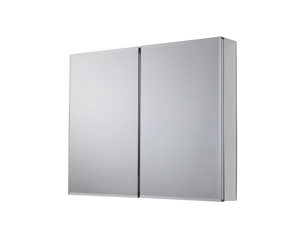 36 In. x 30.50 In. Recessed or Surface Mount Medicine Cabinet with Bi-View Beveled Mirror in Silv...