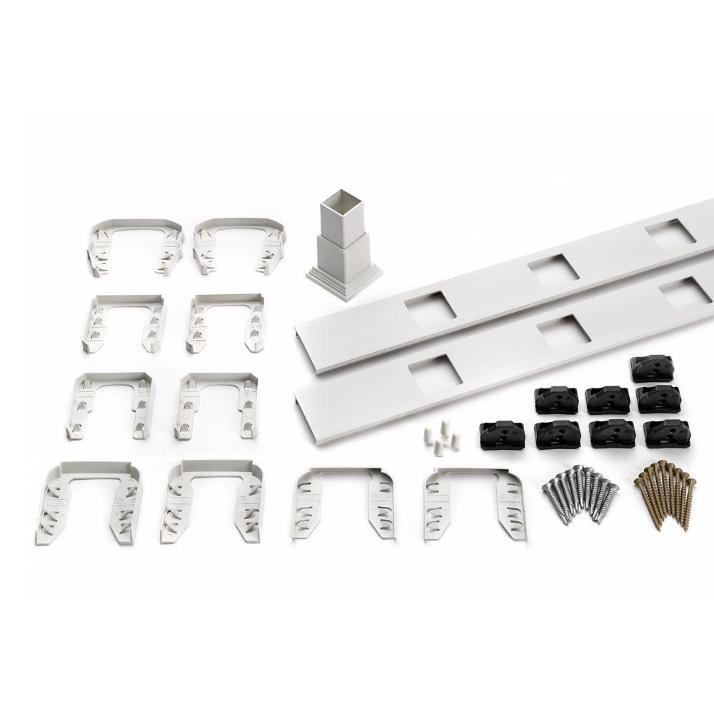 6 Pi. - Ensemble d'accessoires de Rampe pour Balustres Carrés - Escalier - Blanc