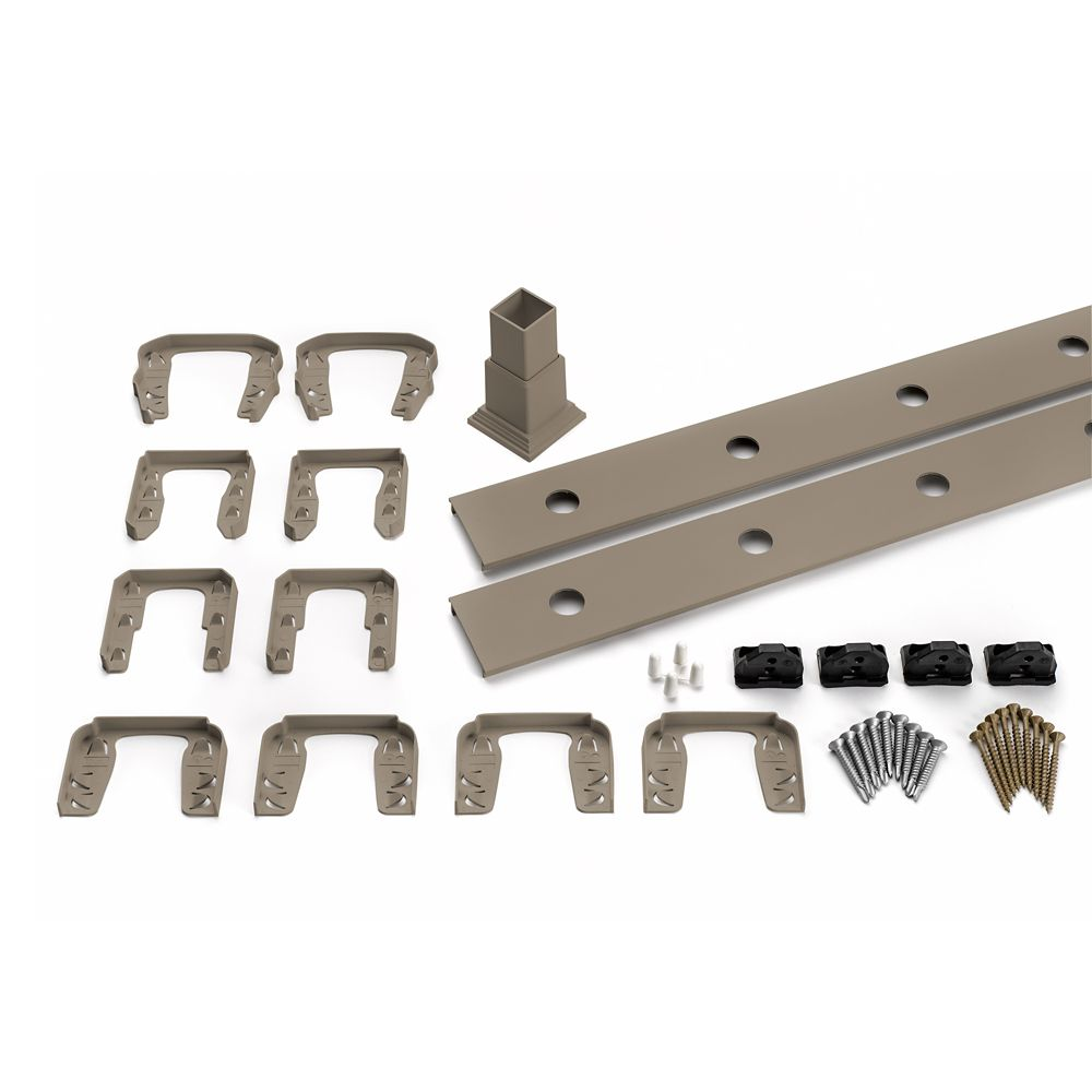 8 Ft.  -  Infill Rail Kit for Round Aluminium - Balusters - Horizontal Gravel Path