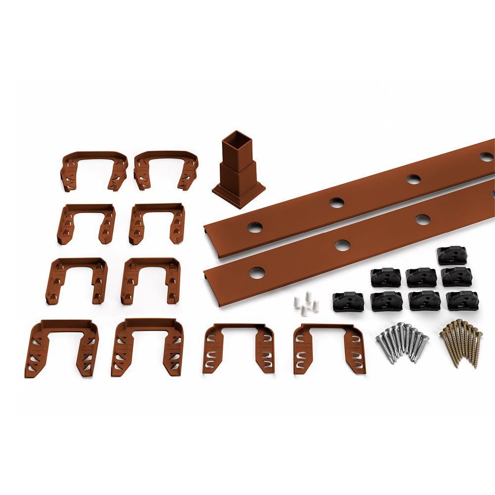 8 Pi. - Ensemble d'accessoires de Rampe pour Balustres Ronds en Aluminium - Escalier - Fire Pit