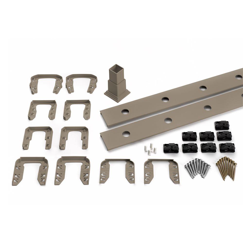 8 Pi. - Ensemble d'accessoires de Rampe pour Balustres Ronds en Aluminium - Escalier - Gravel Pat...