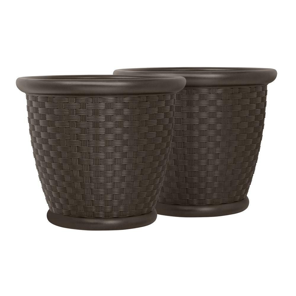 Sonora 18 Inch X 16 Inch Blow Molded Planter - 2 Pack