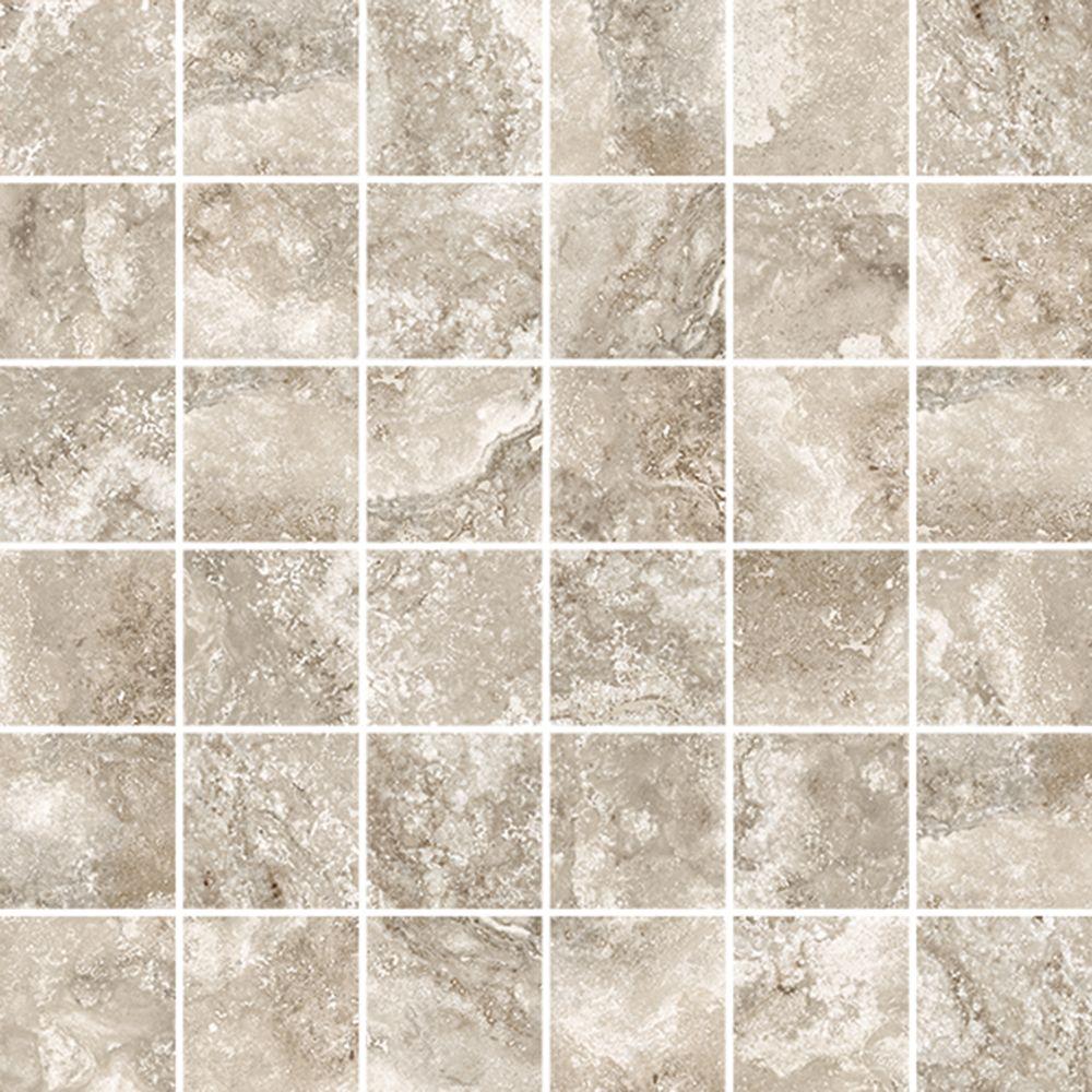 Rogini Beige 12 Inch X 12 Inch Glazed Porcelain Floor & Wall Mosaic Tile