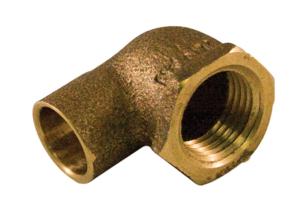 90 Degree Elbow 1/2 x 3/4 Inch Copper To Female Cast Brass Lead Free