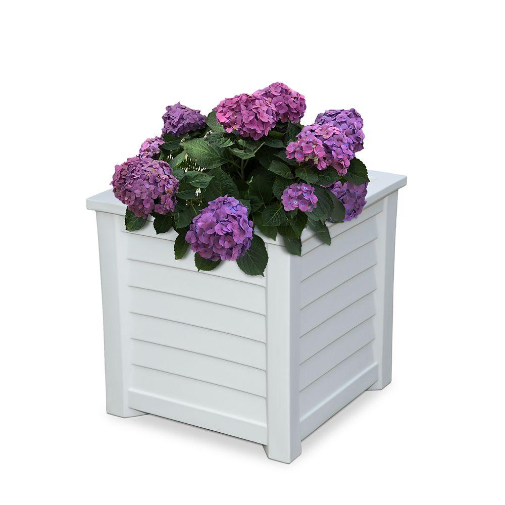 Jardinière carrée 20po x 20po pour terrasse Lakeland - Blanc