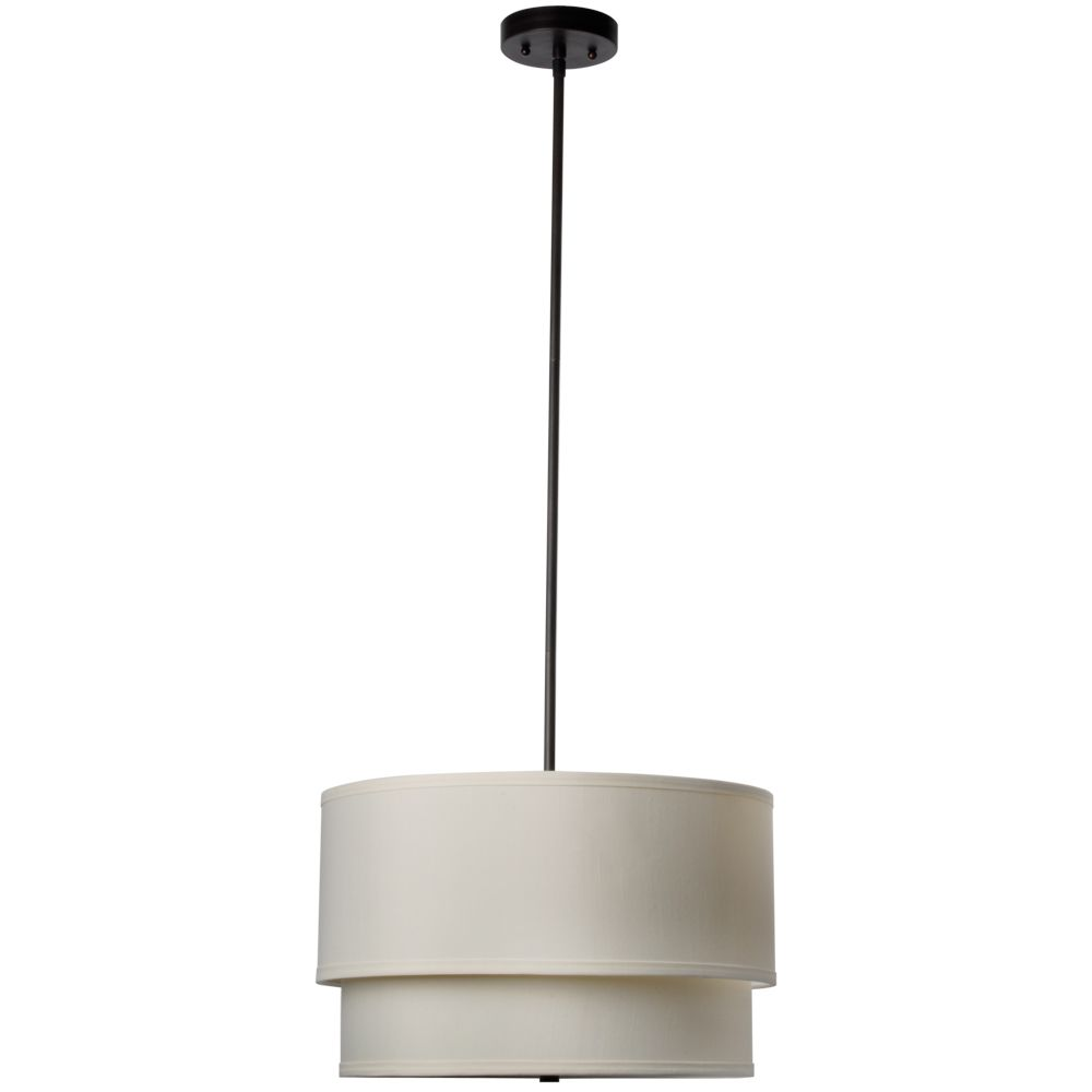 Eagan 3-Light 18 in. Oil Rubbed Bronze Drum Pendant with Double Khaki Shade