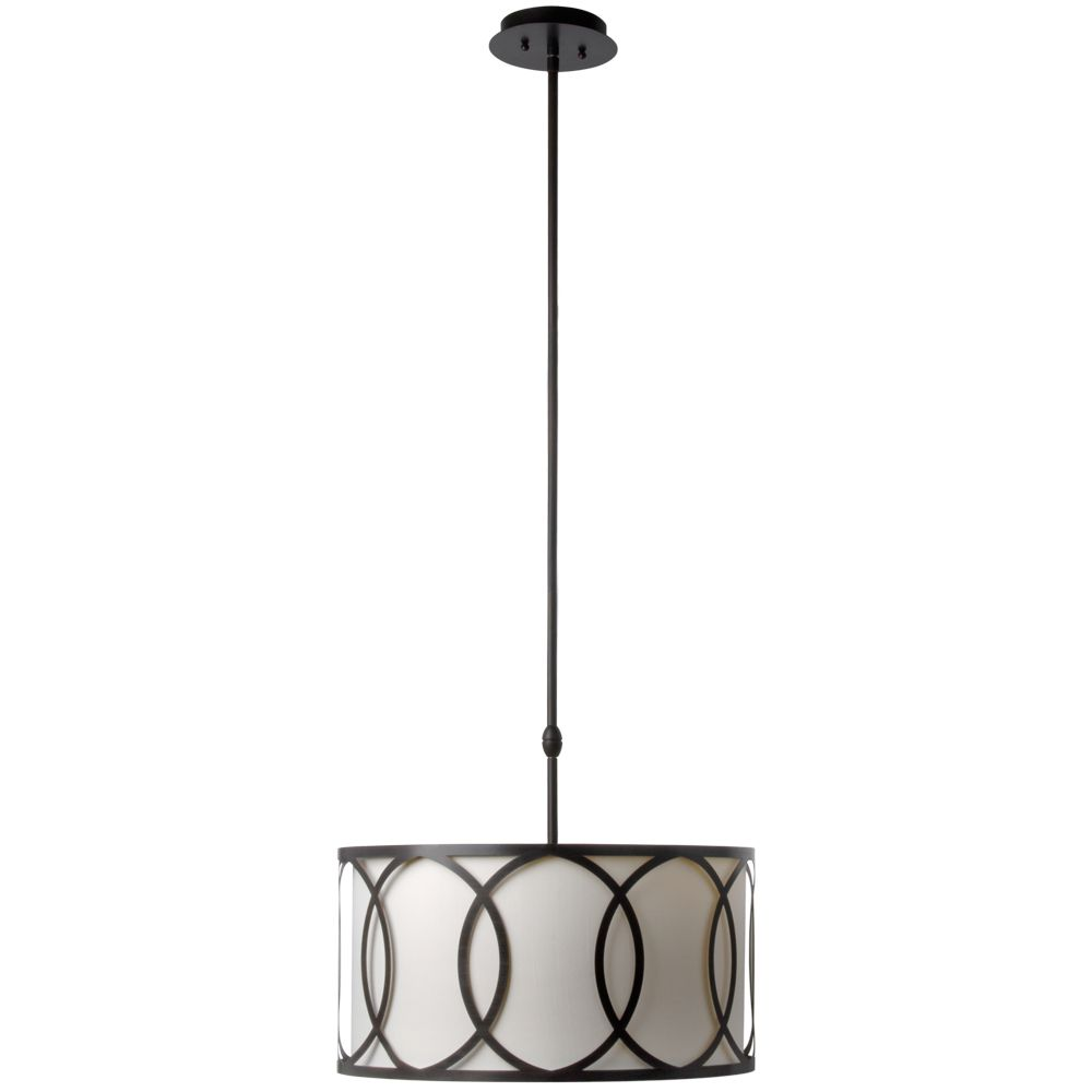 Davenport 3-Light 18 in. Oil Rubbed Bronze Metal Overlay Drum Pendant