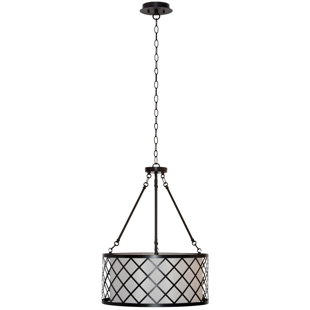 Hayes 18-inch 3-Light Drum Pendant Light Fixture in Oil-Rubbed Bronze with Metal Overlay