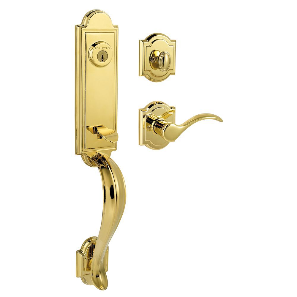 Baldwin Prestige Avendale Single Cylinder Polished Brass Handle Set with Tobin Lever with SmartKey