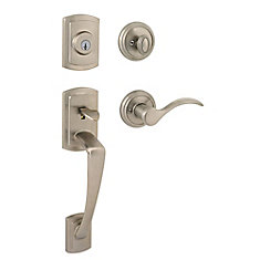 Prestige Nautica Single Cylinder Satin Nickel Handle Set with Tobin Lever and SmartKey