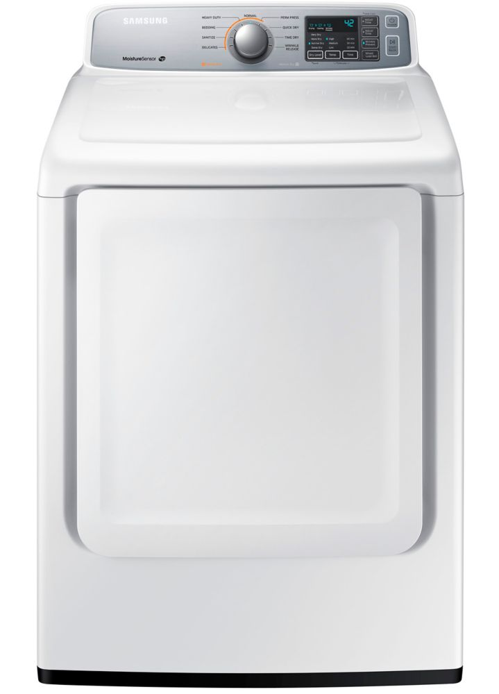Samsung 27-inch 7.4 cu.ft. 9-Cycle Front-Load Electric Dryer in White