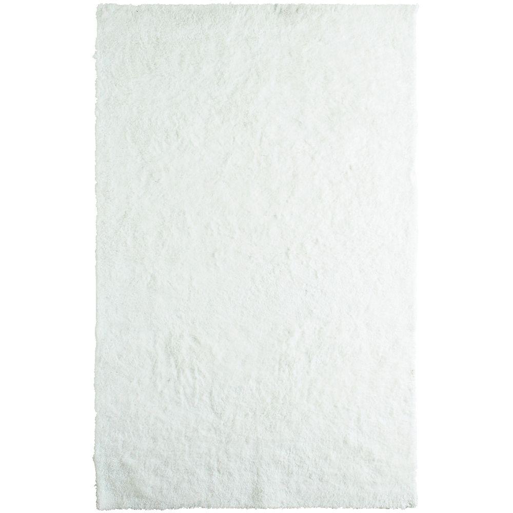 Tapis Blanc à poils longs gonflants 8 Pi. x 10 Pi.