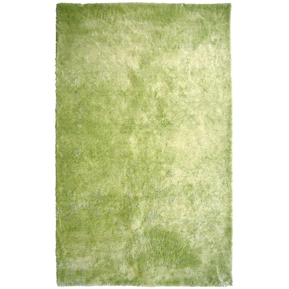 Tapis Vert Citron à poils longs gonflants 5 Pi. x 8 Pi.