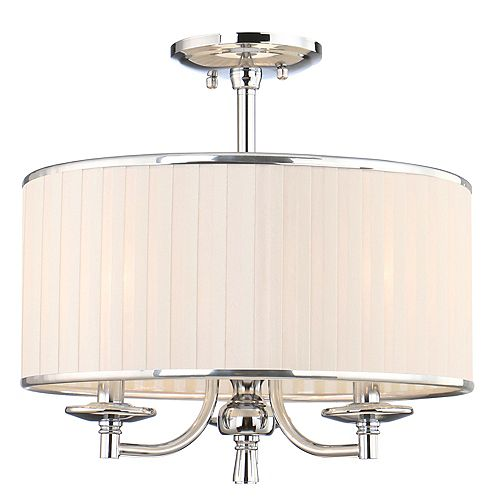 Home Decorators Collection Anya 15-inch 3-Light Chrome Semi-Flush Mount with Pleated Cream Fabric Shade