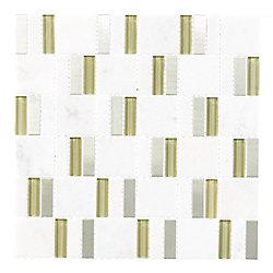 Jeffrey Court 11.75 inch X 11.75 inch Silver Strips 8mm Glass Slate Metal Mosaic