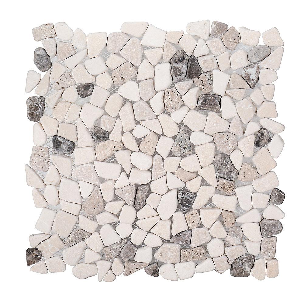 River Rock Medley 11.375-inch x 11.375-inch x 8 mm Travertine Mosaic Floor/Wall Tile
