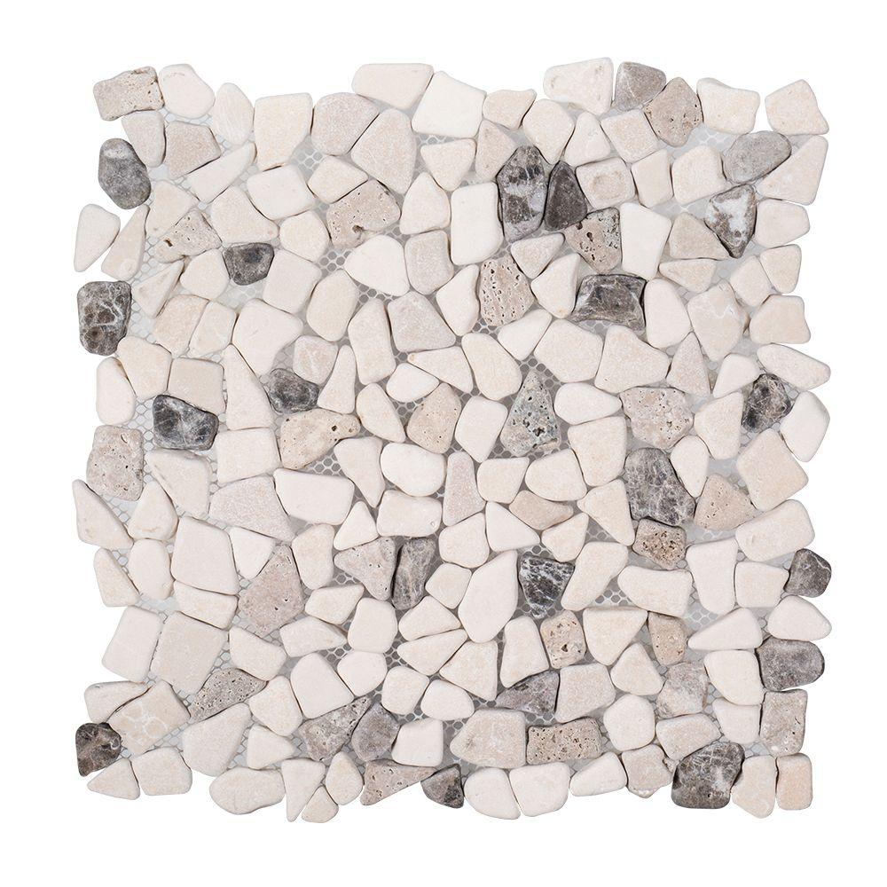 River Rock Medley 12 Inch x 12 Inch x 8mm Travertine Mosaic