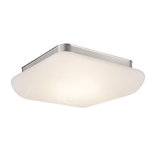 Brushed nickel led flush mount with alabaster glass shade 13 inch