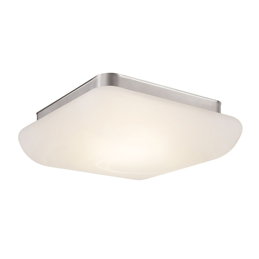 Brushed Nickel LED Flush Mount  With Alabaster Glass Shade - 13 Inch