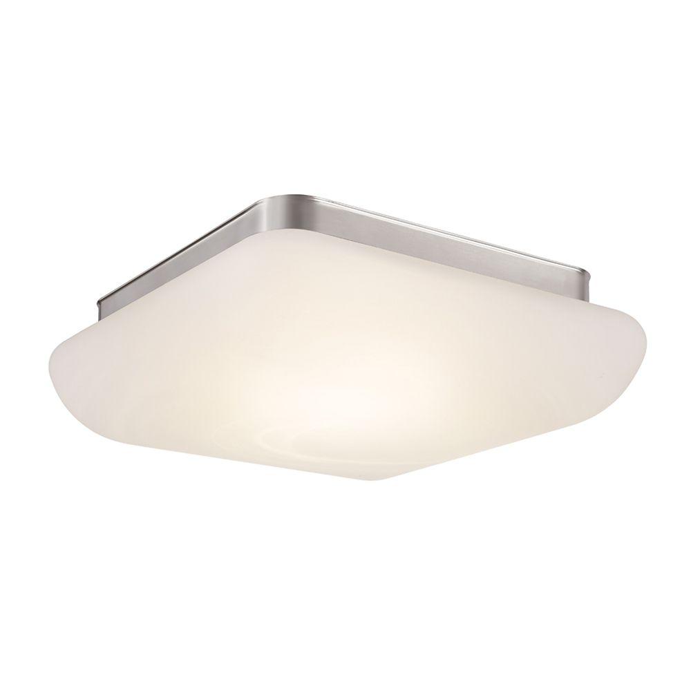 Hampton Bay 13-inch Brushed Nickel LED Flushmount Ceiling Light with Alabaster Glass Shade - ENERGY STAR