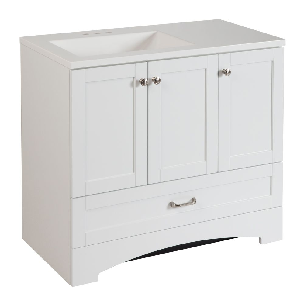 Glacier bay lancaster 36 inch w vanity combo in white for Bathroom cabinets 36