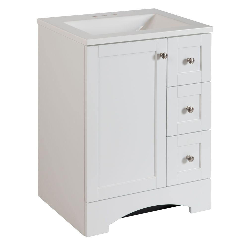Glacier Bay Lancaster W 3 Drawer 1 Door Freestanding Vanity In White With Ceramic Top