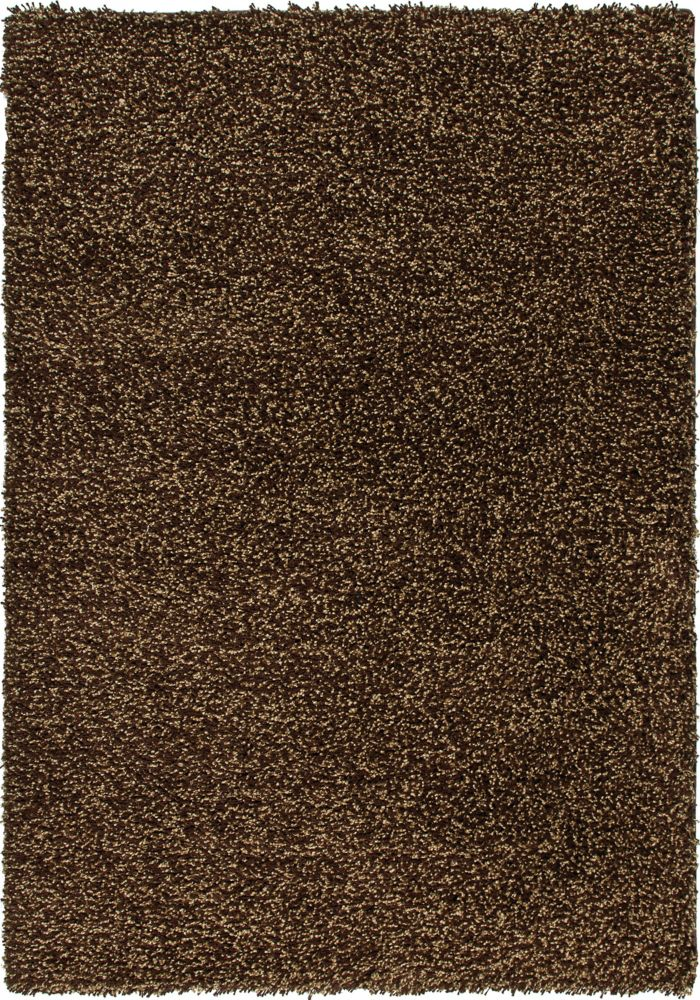 Carpette à poils longs 63 po x 90 po Chunky Shag, brun