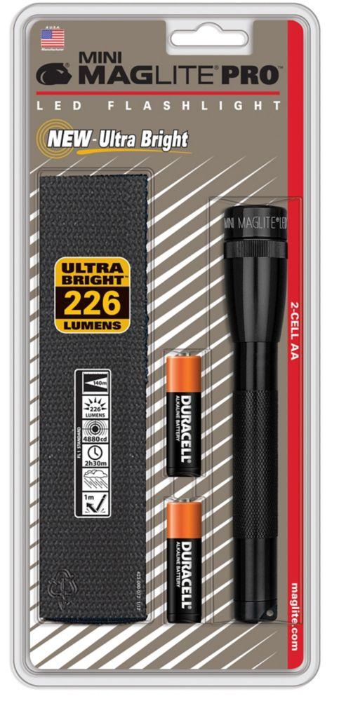 Mini 2-Cell AA LED PRO Flashlight - Black