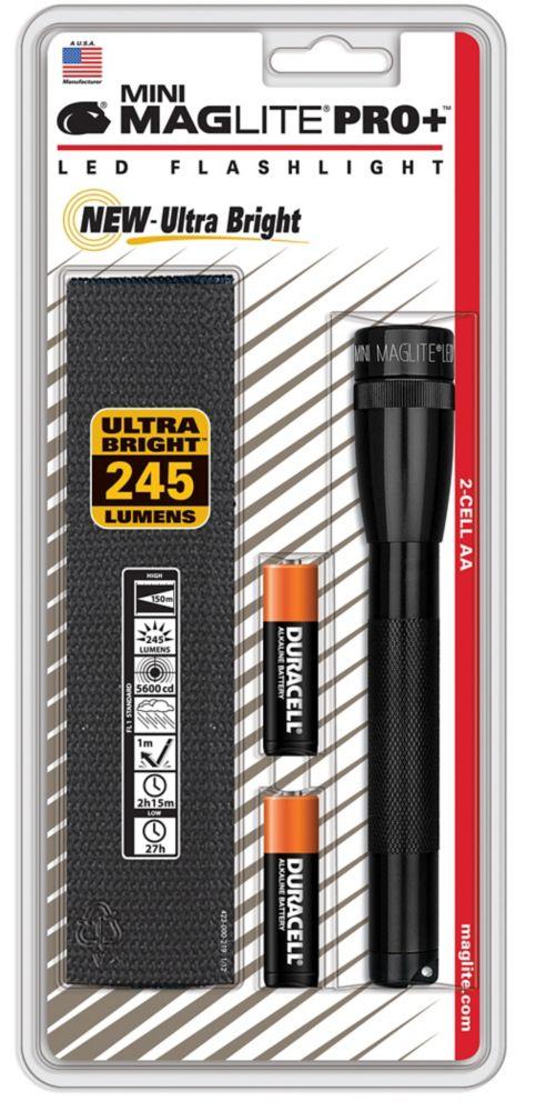 Mini 2-Cell AA LED PRO+ Flashlight - Black