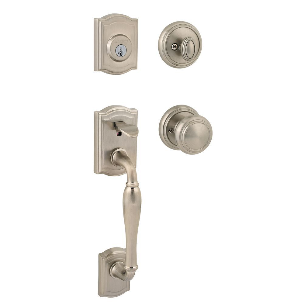 Prestige Wesley Single Cylinder Satin Nickel Handle Set with Alcott Entry Knob with SmartKey