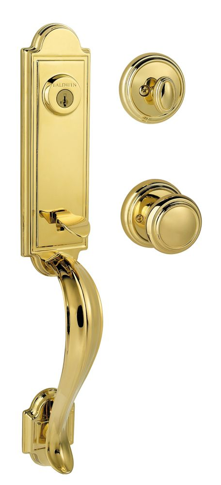 Prestige Avendale Single Cylinder Polished Brass Handle Set with Alcott Entry Knob with SmartKey